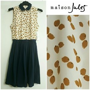 MAISON JULES Retro Button Up Dress w/Dainty Print